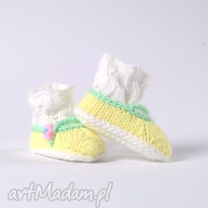 buciki balerinki little yellow, buciki, skarpetki, niemowlę, dziecko, włóczka