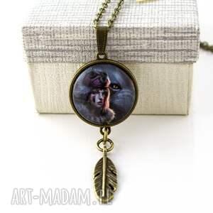 medalion mononoke hime - ghibli, wisiorek, medalion, pióro, boho, mononoke, anime
