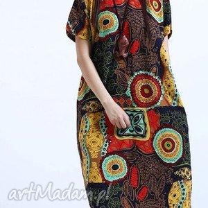 Prezent lniana sukienka we wzory, sukienka, len, orient, mama, lato, prezent