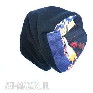czapka czarna dzianina patchwork zimowa - czapka, zimowa, etno, boho, folk, patchwork