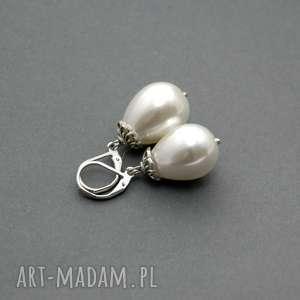 kolczyki z perłą seashell, perła, perełka, eleganckie, wieczorowe, delikatne
