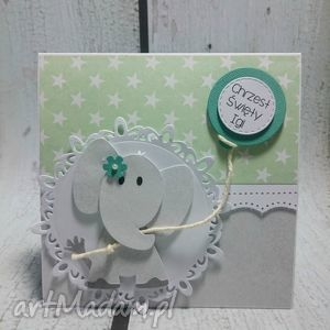 Słonik z balonem w zieleni , chrzest, urodziny, słonik, balony, zaproszenie