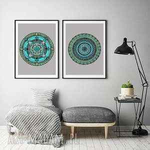 unikalne, zestaw 2 prac 50x70cm, mandala, mandale, plakat, obrazek, zestaw, grafika