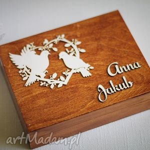drewniane pudełko na obrączki - serce z gołąbkami, pudełko, obrączki, ślub