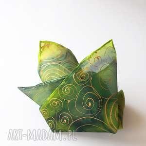 krawaty ręcznie malowana poszetka w zieleniach i złocie, poszetka, jedwabna