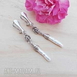 perły na długo - klipsy, srebrna biżuteria, srebrne nowoczesna biżuteria