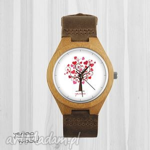drewniany zegarek - drzewo miłości serce brąz, bransoletka, zegarek,