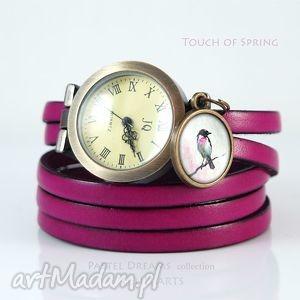 bransoletka, zegarek - dotyk wiosny fuksja, skórzany