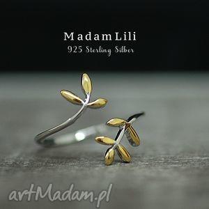 925 srebrny pierscionek liść, pierścionek, natura, park, berlin biżuteria