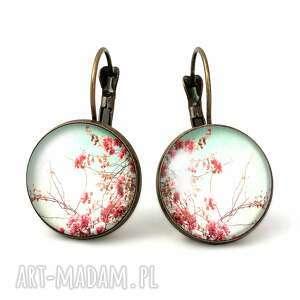 handmade kolczyki retro kwiaty - duże kolczyki wiszące