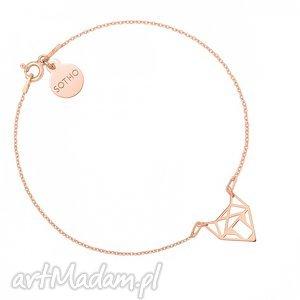 bransoletka z różowego złota z ażurowym lisem, zawieszka