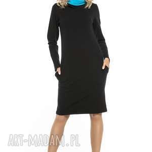 Sportowa sukienka z kominem, t248, czarny niebieski sukienki