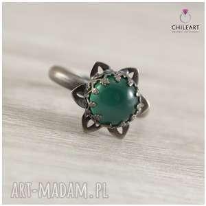 Zielony agat i srebro - pierścionek 1333a rozmiar 17 chileart