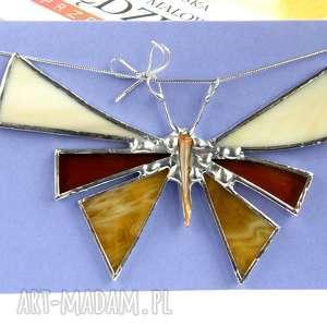 dekoracje kartka na życzenia z motylem beżowym, motyl, dekoracja witrażowa