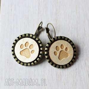 kolczyki drewniane psia łapka, drewniane, kolczyki, ekologiczne, pies