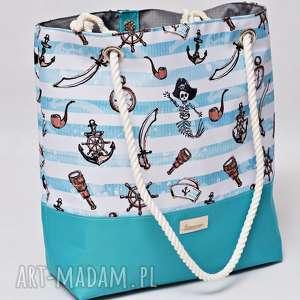 hand-made torebki torba plażowa, duża wodoodporna na plażę, marynarska ze sznurami