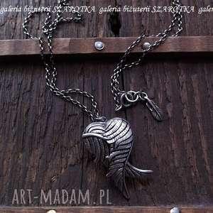 otulone srebrny sekretnik ze skrzydłami, serce, skrzydła, piórko, srebro, oksydowane