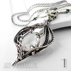 Prezent Ravenna srebrny naszyjnik z kryształem górskim i zielonym granatem , srebro