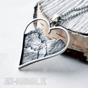 naszyjniki naszyjnik z miłości do gór, góry, oksydowane srebro, natura, serce