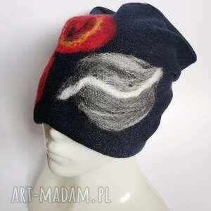 czapki czapka handmade wełniana czesanką filcowane wełniane -czapka