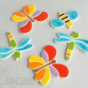 magnesy zestaw magnesówm wesołych, motyle, pszczółki, ważki, magnesy, kolorowe