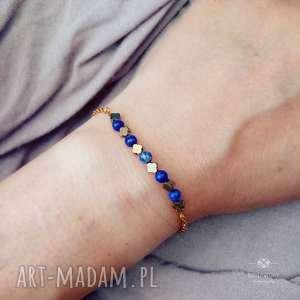 ręcznie robione bransoletka z lapis lazuli i hematytami