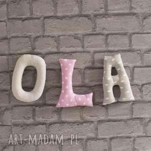 Literki bawełniane Ola, dekoracje, literki, ola, zawieszka, dziewczynka, litwry
