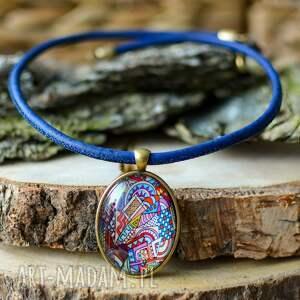 naszyjniki naszyjnik z korka cork cabo cubistic, kolorowy kaboszon, korek