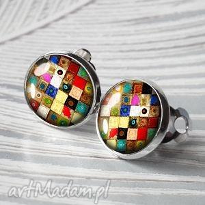 ARTISTIC MOSAIC- MAŁE ELEGANCKIE KLIPSY, mozaika, kolorowe, klips, srebrne, okrągłe