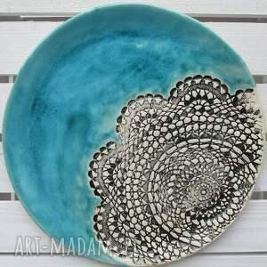 turkusowa z koronką, patera, ceramiczna, turkus, koronkowa