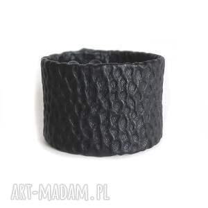 bransoleta skórzana czarna struktura, skórzana, skóra, elegancka