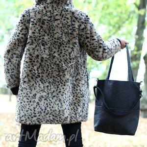 Czarna torba z grubo plecionej tkaniny i nubuku tapicerskiego, torba, torebka, szara