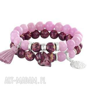 striking purple., chwost, jaspis, jadeit, zestaw, swarovski