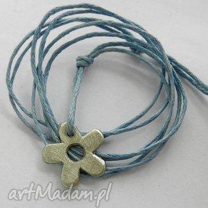 KWIAT wisiorek, kwiat, alpaka, sznurek