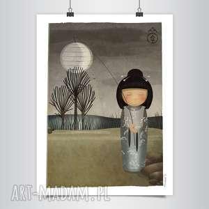 lapatiq kokeshi sen o księżycu grafika - kokeshi, grafika, japońska