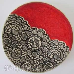 ceramika malutki czerwoniutki talerzyk, mydelniczka, ceramiczna, podstawka, pod