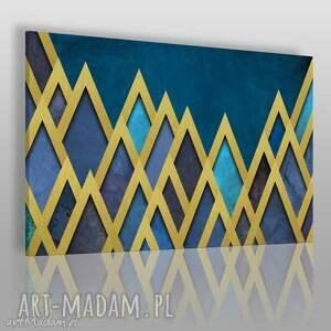 magnesy obraz na płótnie - trójkąty złoty granatowy egipt 120x80 cm 71401