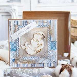 przeurocza kartka dla dziecka w pudełeczku z szybką narodziny chrzest roczek