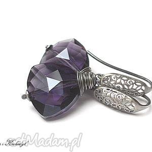 ręcznie wykonane kolczyki triangle violet - kolczyki