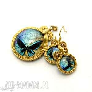 komplet biżuterii sutasz - motyl, sznurek, eleganckie, soutache, małe, motylek