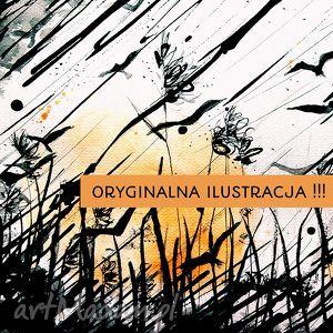 Ilustracja - ORYGINAŁ!!!, ortyginał, akwarela, tusz, pejzaż, a4, obraz