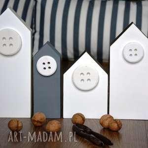 4 x domki drewniane - domki, domek, drewniane, drewna, skandynawski, guziki
