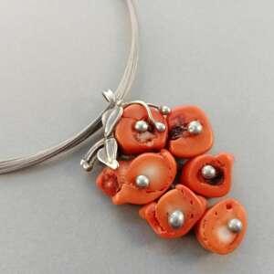 wisiorki oranżowy koral, kamienie naturalne