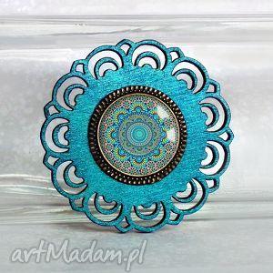 handmade broszki turkusowa mandala:: piękna ręcznie wykonana broszka