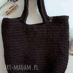 handmade na ramię szydełkowa torba shopperka ciemny brąz
