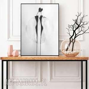 abstrakcja czarno-biała, nowoczesny obraz do salonu minimalizm, plakat 50x70