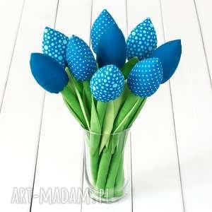 Prezent TULIPANY niebieski bawełniany bukiet, kwiaty, tulipany, prezent