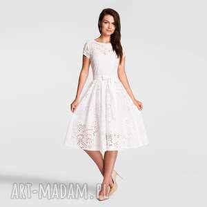 sukienka marie midi haft richelieu biel, sukienka, midi, haft, biel, pasek
