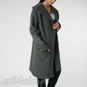 Płaszcz z ciepłym kołnierzem khaki s-m 36 38 płaszcze ekoszale