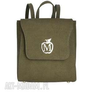 ręczne wykonanie manzana klasyczny plecak vintage ekoskóra - oliwkowy